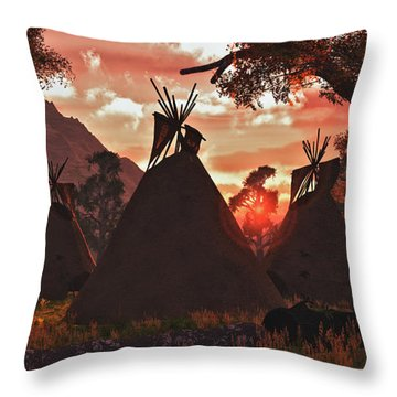 Tepee Sunset Throw Pillow by Walter Colvin