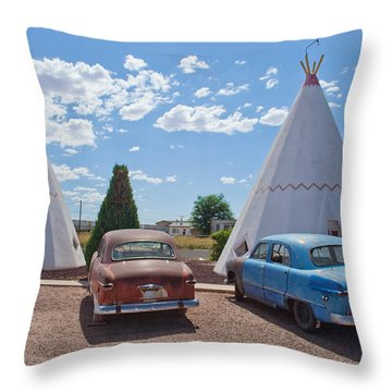 Tepee With Old Cars Throw Pillow by Matthew Bamberg