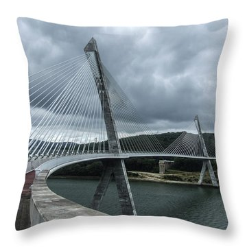 Terenez Bridge I Throw Pillow by Helen Northcott