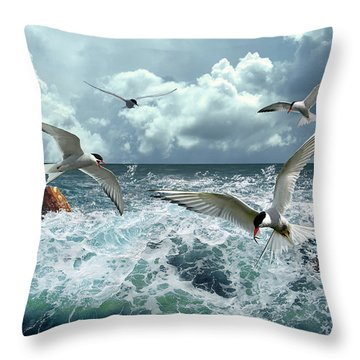 Terns In The Surf Throw Pillow