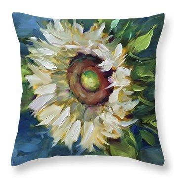 Terra Bianca White Sunflower Throw Pillow