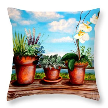 Throw Pillow featuring the painting Terra Cotta Blues by Elizabeth Robinette Tyndall