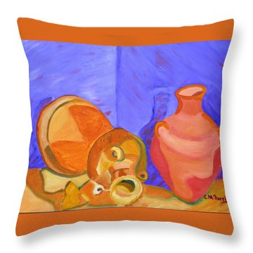 Throw Pillow featuring the painting Terra Cotta by Christopher M Farris