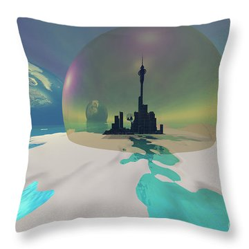 Terra-moon Throw Pillow by Corey Ford