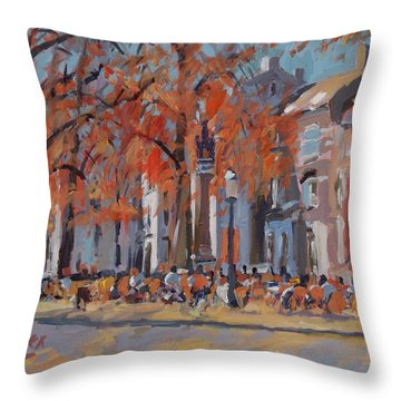 Terrace In The Grand Tanners Street Maastricht Throw Pillow by Nop Briex