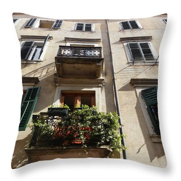 Terrace With Flowers Throw Pillow