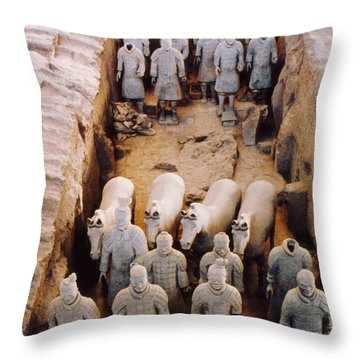 Throw Pillow featuring the photograph Terracotta Army by Heiko Koehrer-Wagner