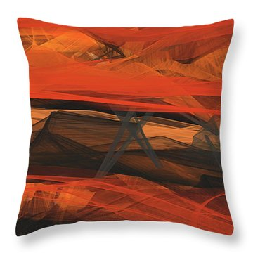 Throw Pillow featuring the painting Terracotta Orange Modern Abstract Art by Lourry Legarde
