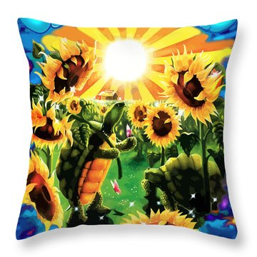 Terrapin Sun Flowers Throw Pillow
