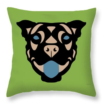Terrier Terry - Dog Design - Greenery, Hazelnut, Niagara Blue Throw Pillow