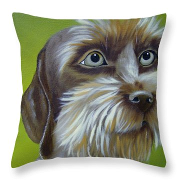 Terrier Waiting Patiently Throw Pillow