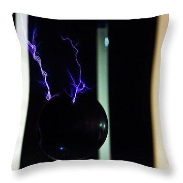 Throw Pillow featuring the photograph Tesla Coil 3 by Tyson Kinnison
