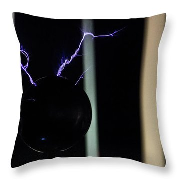 Throw Pillow featuring the photograph Tesla Coil 5 by Tyson Kinnison