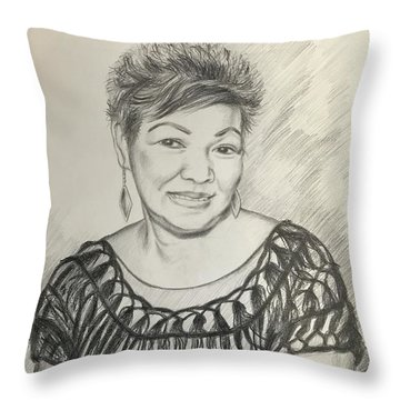 Throw Pillow featuring the drawing Tessie Guinto  by Rosencruz  Sumera