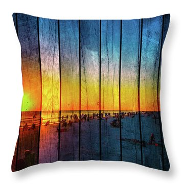 Siesta Key Drum Circle Sunset - Wood Plank Look Throw Pillow