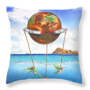Tethered Sphere Throw Pillow by Melissa A Benson