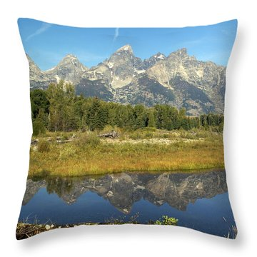 Teton 5 Throw Pillow by Marty Koch