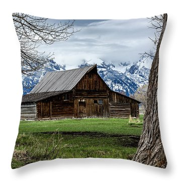 Throw Pillow featuring the photograph Teton Barn #1 by Scott Read