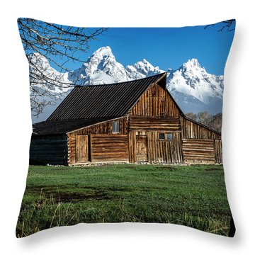 Throw Pillow featuring the photograph Moulton Barn And Tetons by Scott Read