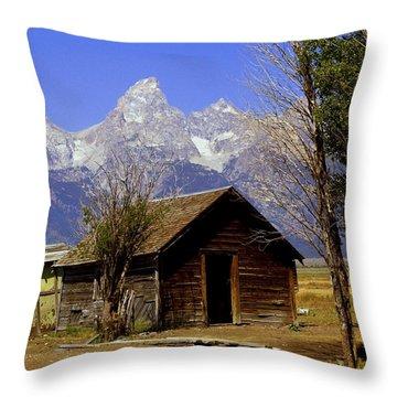 Teton Cabin Throw Pillow by Marty Koch