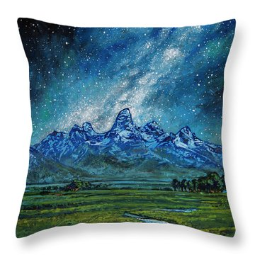 Throw Pillow featuring the painting Teton Milky Way by Aaron Spong