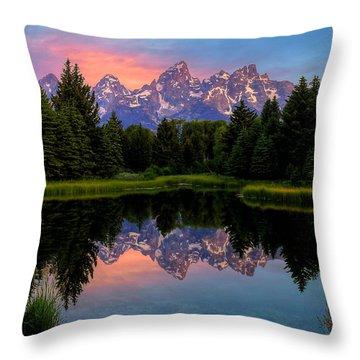 Teton Mornig Glow  Throw Pillow