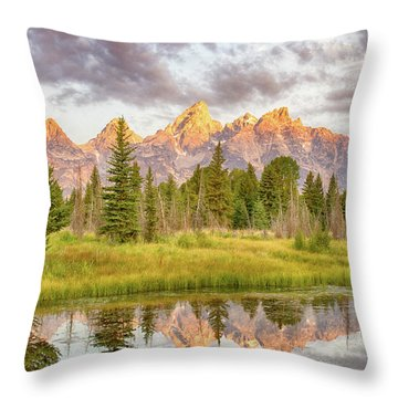 Throw Pillow featuring the photograph Teton Morning by Mary Hone