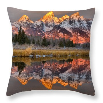Teton Mountains Sunrise Rainbow Throw Pillow by Adam Jewell