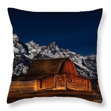 Teton Mountains With Barn Throw Pillow