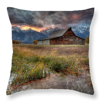Teton Nightfire At The Ta Moulton Barn Throw Pillow