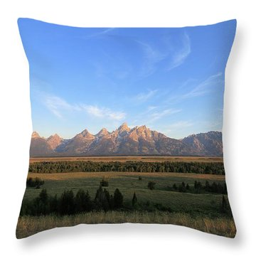 Teton Range After Sunrise Throw Pillow