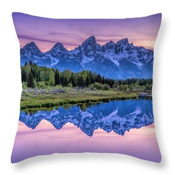 Sunset Teton Reflection Throw Pillow