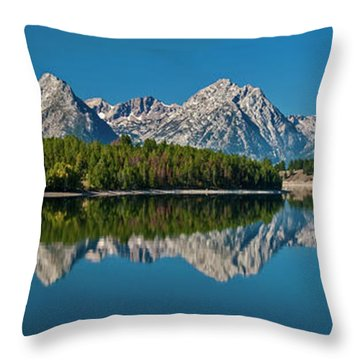 Throw Pillow featuring the photograph Teton Reflections by Gary Lengyel