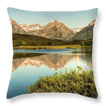 Teton Reflections Throw Pillow by Rebecca Hiatt