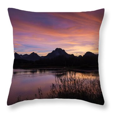 Teton Sunset Throw Pillow by Gary Lengyel