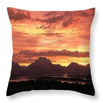 Teton Sunset Throw Pillow