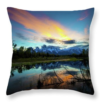 Throw Pillow featuring the photograph Teton Sunset by Norman Hall