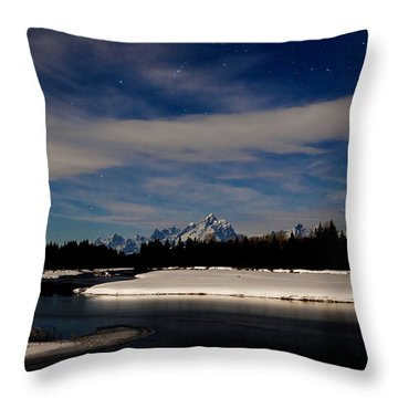 Tetons At Moonlight Throw Pillow