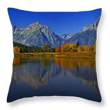 Tetons From Oxbow Bend Throw Pillow by Raymond Salani III