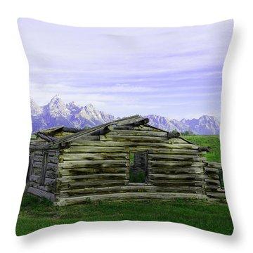 Tetons From The Shane Barn Throw Pillow