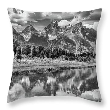 Tetons In Black And White Throw Pillow by Mary Hone