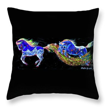 Tetons Pony And The Big Dipper Appy Throw Pillow by Louise Green
