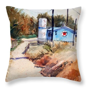 Throw Pillow featuring the painting Texaco by Ron Stephens