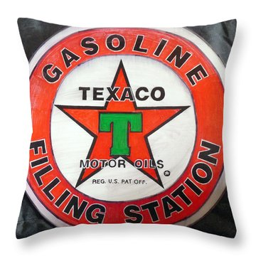 Throw Pillow featuring the painting Texaco Sign by Richard Le Page