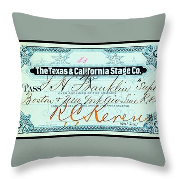 Throw Pillow featuring the drawing Texas And California Stage Company Boston And New York Air Line Railroad Ticket 19th Century by Peter Gumaer Ogden
