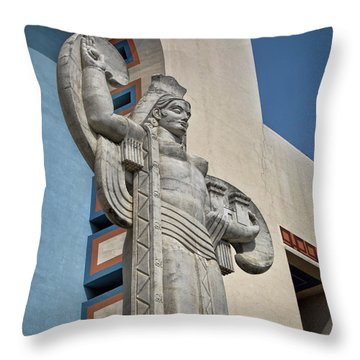 Throw Pillow featuring the photograph Texas Art Deco Sculpture by David and Carol Kelly