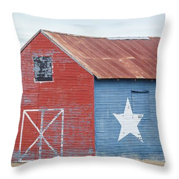 Texas Barn With Goats And Ram On The Side Throw Pillow