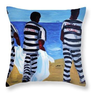 Texas Beach Scene Throw Pillow by Deborah Lee