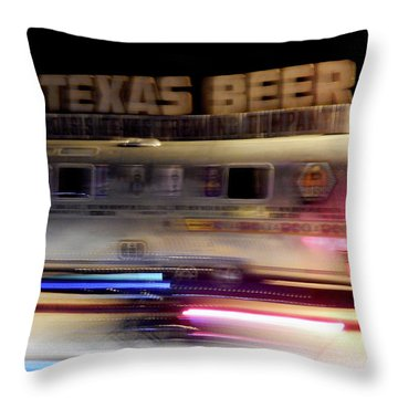 Texas Beer Fast Motorcycle #5594 Throw Pillow by Barbara Tristan