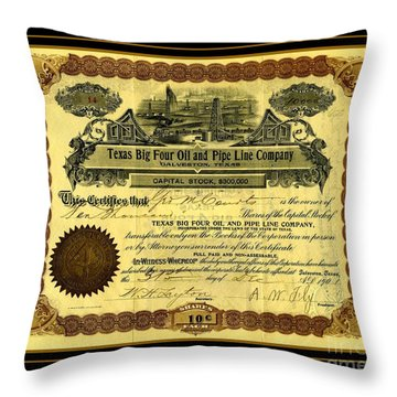 Throw Pillow featuring the drawing Texas Big Four Oil And Pipeline Company Stock Certificate 1901 With Oil Field And Tanker Train Scene by Peter Gumaer Ogden